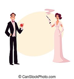 Man and woman in 1920s style clothes at vintage party