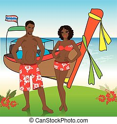 Man and woman in beach shorts on the beach, vector