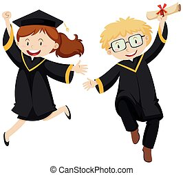 Man and woman in black graduation gown