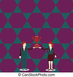 Man and Woman in Business Suit Holding Together the Championship Winners Trophy Cup Between them. Creative Background Concept for Competition, Target Goal Planning and Positivity.