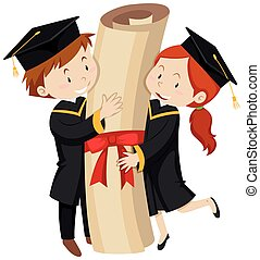 Man and woman in graduation gown