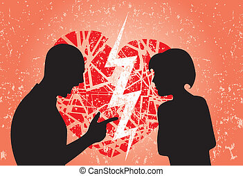 Man and woman in love having break up