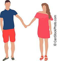 man and woman in love together holding hands