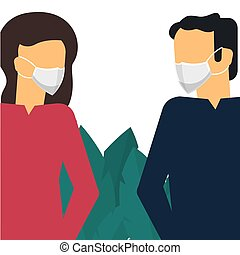 Man and woman in mask. Novel Coronavirus Outbreak. Virus Covid 19-NCP.