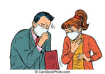 man and woman in masks, dirty air, illness infection