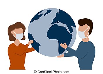Man and woman in medical face mask holding earth globe