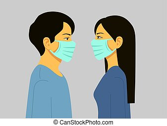 Man and Woman in medical face protection mask.