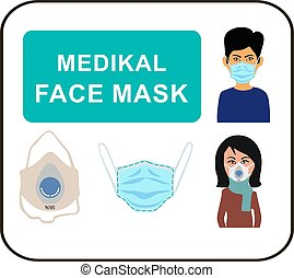 Man and woman in medical mask.eps