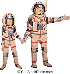 Man and woman in space suits holding hands. Astronauts...