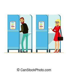 Man and woman in voting booths casting their ballots vector Illustration