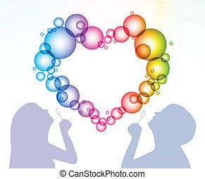Silhouette of the man and woman inflate bubbles in the form of heart