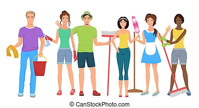 Man and woman janitors cleaners. Cleaning people group team together with cleaning equipmen set. Cleaning stuff service.