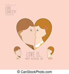 Man and woman kissing a heart shape flat vector.