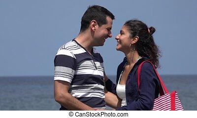 Man And Woman Kissing And Having Fun