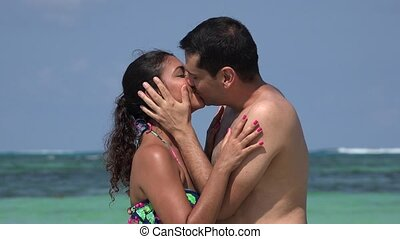 Man And Woman Kissing On Vacation