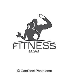 man and woman of fitness silhouette character make selfie vector