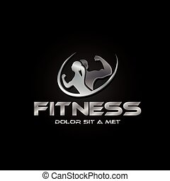 man and woman of fitness silver silhouette character on black background