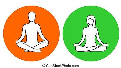 Man and woman of lotus yoga pose.
