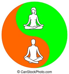 Man and woman of lotus yoga pose. Yin yang symbol.