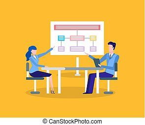 Man and woman, office round table discussion
