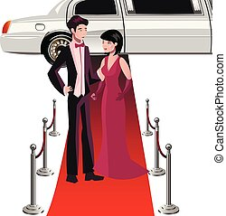 Man and woman on a red carpet.