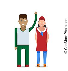 Man and woman on a white background. Vector illustration