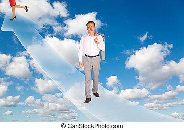 man and woman on arrow on White, fluffy clouds in blue sky collage