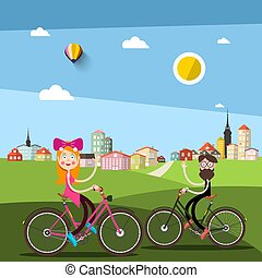 Man and Woman on Bicycle with City ark on Background