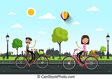 Man and Woman on Bicycles on the Road with City Park on Background. Vector Cartoon. Healthy Day in Town.