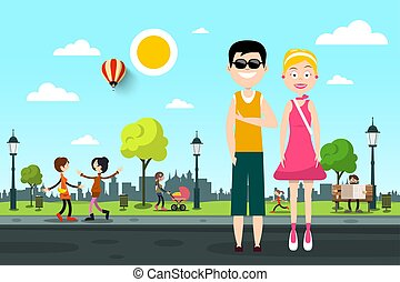 Man and Woman on Street with People in City Park on Background