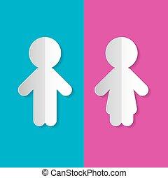 Man and Woman Paper Symbols