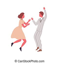 Man and woman performing retro dance elements vector flat ...
