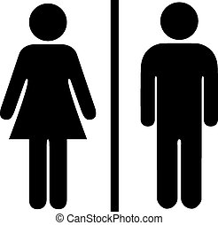 Man and woman pictogram on white background