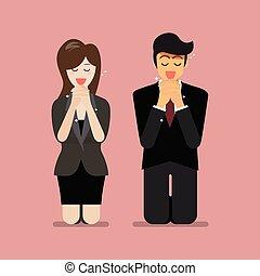 Man and woman pray to god. Vector illustration