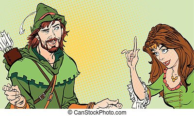 Man and woman. Princess teaching Robin Hood. Teaching princess. Lady in medieval dress. Girl laughs at a man. Laughing princess. Medieval legend. Robin Hood. Beloved woman of Robin Hood.