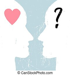 Man and woman profiles with different emotions. Relations concept. Grunge styled. Abstract unrecognizable faces. Heart and question signs. Vector illustration.