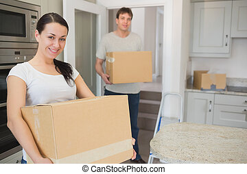 Man and woman relocating