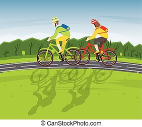 Man and Woman Ride on Bicycle on a Country Road.