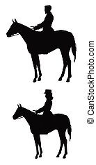 man and woman riders on horse in silhouette