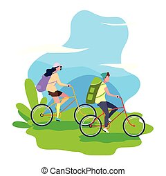 man and woman riding bicycle