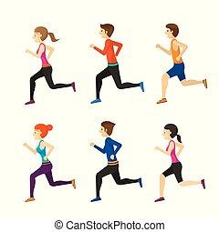 Man and Woman Running Set