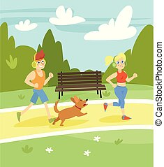 Man and woman running with dog in the park, summer landscape vector Illustration