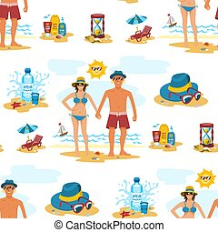 Man and woman seamless pattern background couple vacation summer time on the beach sand tropical nature vector illustration.