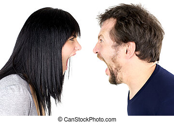 Man and woman shouting strong at each other isolated - Crazy...