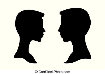 Man and woman side profile head silhouettes isolated
