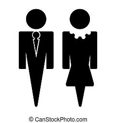 illustration of man and woman sign in black on isolated background