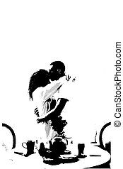 Man and woman silhouette embracing each other