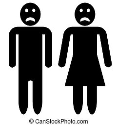 A illustration of a man and woman silhouette, both with sad faces