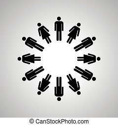 Man and woman silhouettes arranged in round dance, black human icons