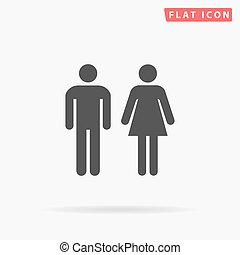 man and woman simple flat icon